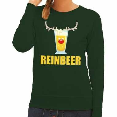 Foute kerstborrel trui groen reinbeer dames