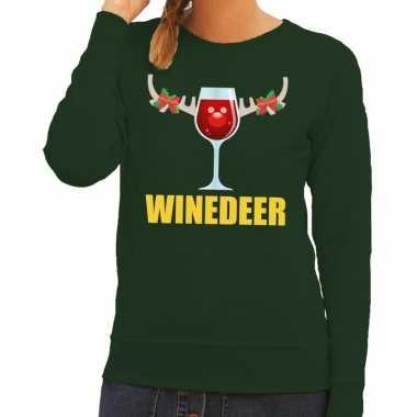 Foute kerstborrel trui groen winedeer dames