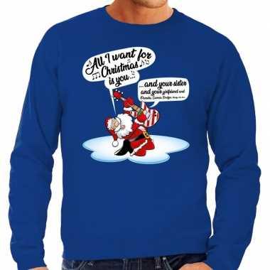 Foute kerstborrel trui / kersttrui met zingende kerstman en gitaar all i want for christmas is you blauw voor heren