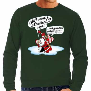 Foute kerstborrel trui / kersttrui met zingende kerstman en gitaar groen voor heren