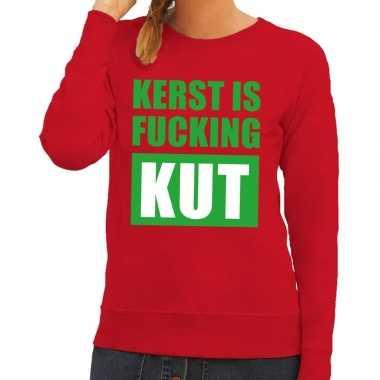 Foute kerstborrel trui rood kerst is fucking kut dames