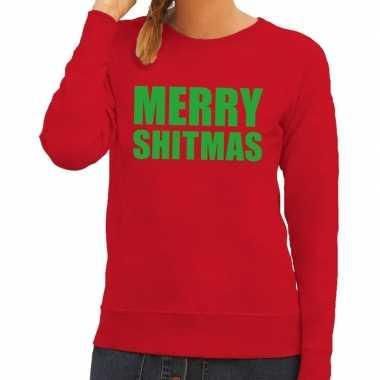 Foute kerstborrel trui rood merry shitmas dames
