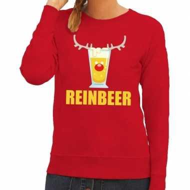 Foute kerstborrel trui rood reinbeer dames