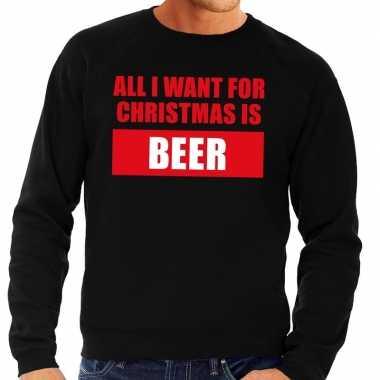Foute kerstborrel trui zwart all i want is beer heren