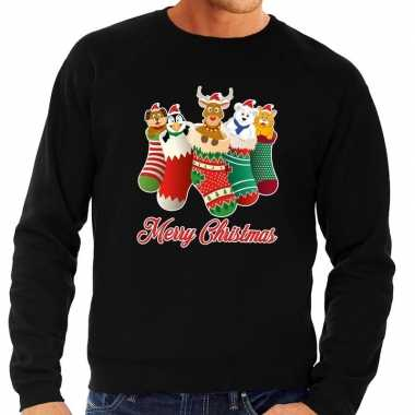 Foute kerstborrel trui zwart kerstsokken met diertjes voor heren