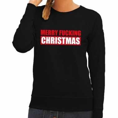 Foute kerstborrel trui zwart merry fucking christmas dames