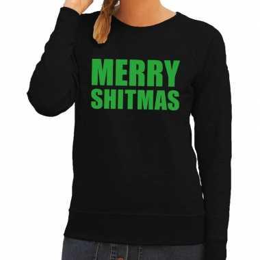 Foute kerstborrel trui zwart merry shitmas dames