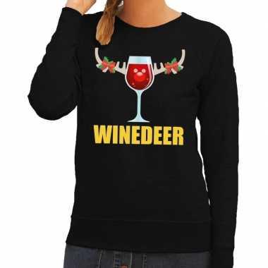 Foute kerstborrel trui zwart winedeer dames