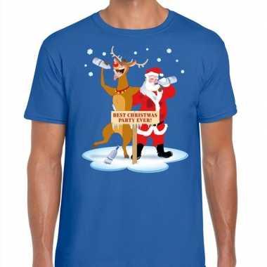 Foute kerstmis shirt blauw met een dronken kerstman en rudolf voor he