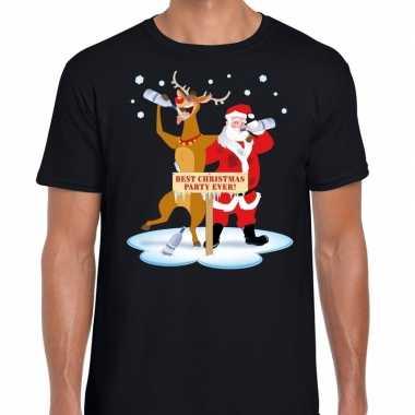 Foute kerstmis shirt zwart met een dronken kerstman en rudolf voor he
