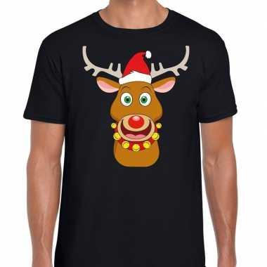 Foute kerstmis shirt zwart met ruldolf het rendier met rode muts voor