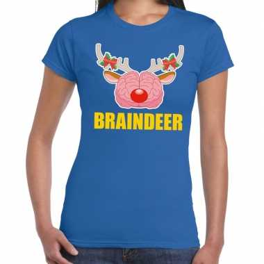 Foute kerstmis t-shirt braindeer blauw voor dames