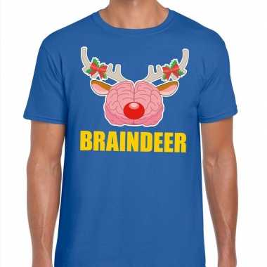 Foute kerstmis t-shirt braindeer blauw voor heren