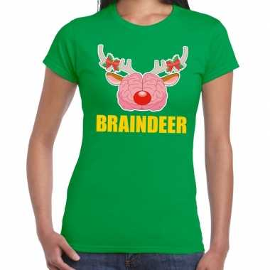 Foute kerstmis t-shirt braindeer groen voor dames