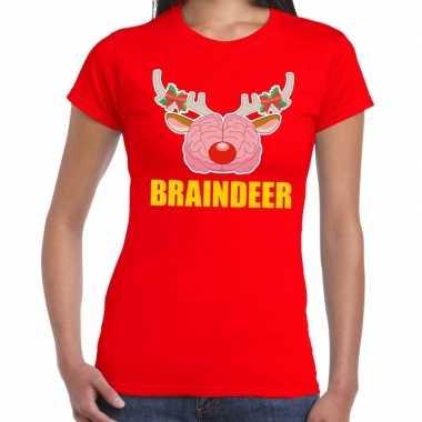 Foute kerstmis t-shirt braindeer rood voor dames