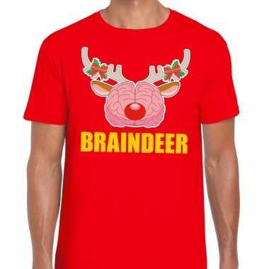 Foute kerstmis t-shirt braindeer rood voor heren