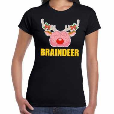 Foute kerstmis t-shirt braindeer zwart voor dames