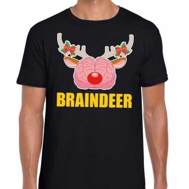 Foute kerstmis t-shirt braindeer zwart voor heren