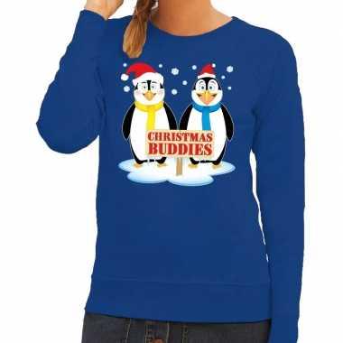 Foute kersttrui blauw met 2 pinguins voor dames