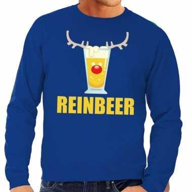 Foute kersttrui blauw met biertje heren