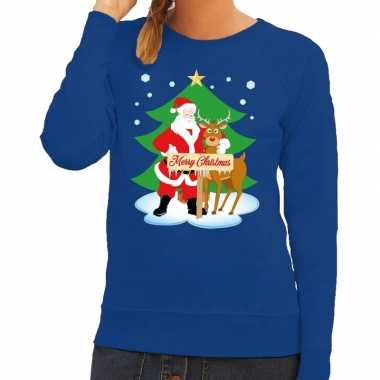 Foute kersttrui blauw met de kerstman en rudolf voor dames