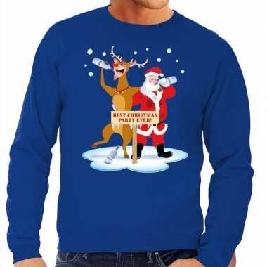 Foute kersttrui blauw met een dronken kerstman en rudolf voor heren