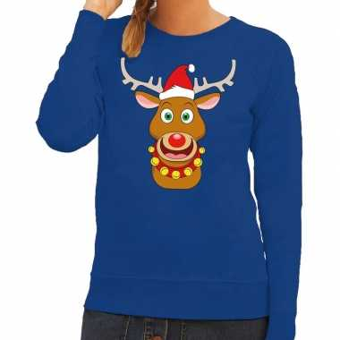 Foute kersttrui blauw met ruldolf het rendier met rode muts voor dame