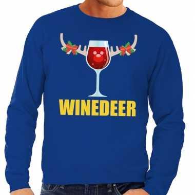 Foute kersttrui blauw met wijntje heren