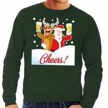 Foute kersttrui cheers met dronken kerstman en rudolf voor heren