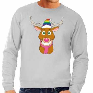 Foute kersttrui grijs gay ruldolf regenboog muts en roze sjaal voor h