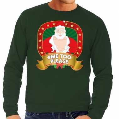 Foute kersttrui groen horny kerstman me2 please heren