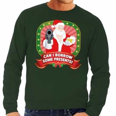 Foute kersttrui groen kerstman met pistool can i borrow some presents