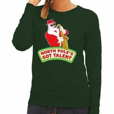 Foute kersttrui groen kerstman met saxofoon dames