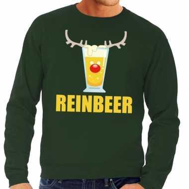 Foute kersttrui groen met biertje heren