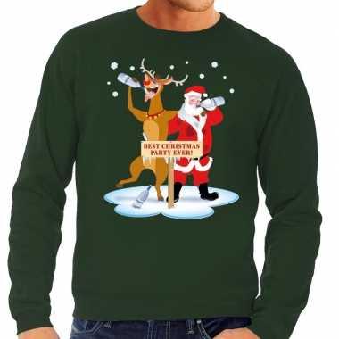 Foute kersttrui groen met een dronken kerstman en rudolf voor heren