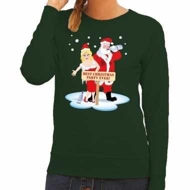 Foute kersttrui groen met een dronken kerstman en zijn vrouw voor dam