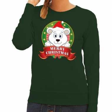 Foute kersttrui groen met ijsbeertje voor dames