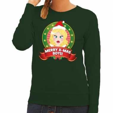 Foute kersttrui groen met kerstvrouwtje voor dames