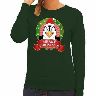 Foute kersttrui groen met pinguin voor dames
