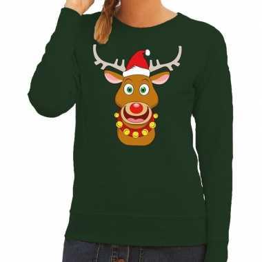 Foute kersttrui groen met ruldolf het rendier met rode muts voor dame
