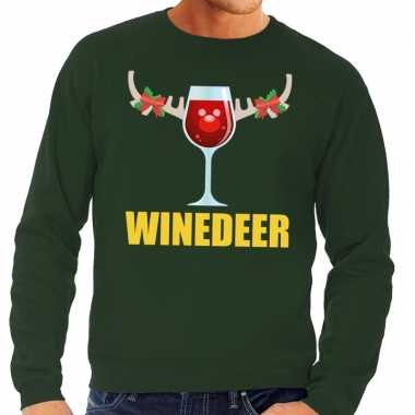 Foute kersttrui groen met wijntje heren