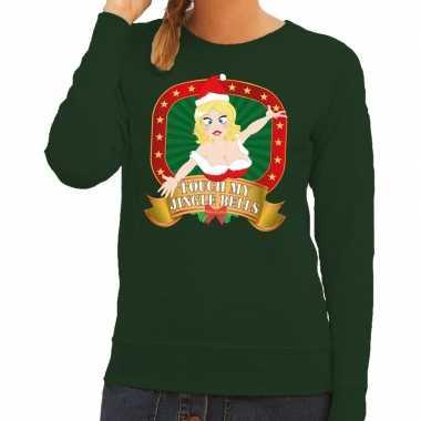 Foute kersttrui groen touch my jingle bells voor dames