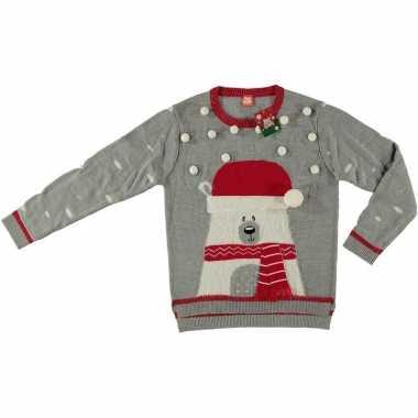 Foute kersttrui ijsbeer grijs voor dames