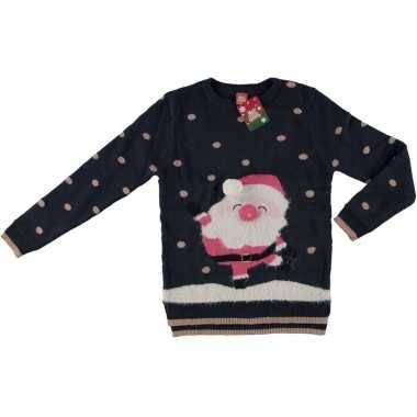 Foute kersttrui kerstman navy blauw/goud voor dames