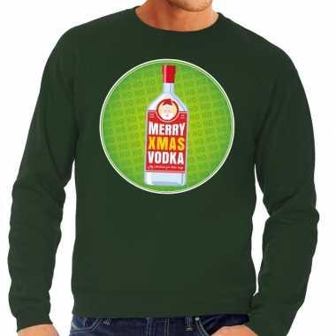 Foute kersttrui merry x-mas vodka groen voor heren
