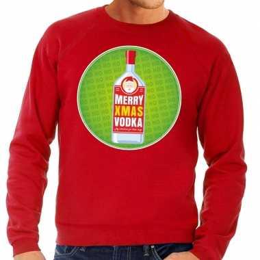 Foute kersttrui merry x-mas vodka rood voor heren