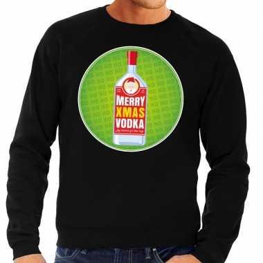 Foute kersttrui merry x-mas vodka zwart voor heren
