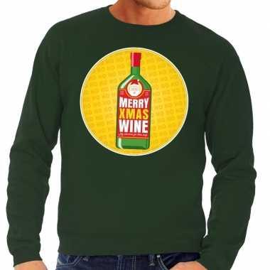 Foute kersttrui merry x-mas wine groen voor heren