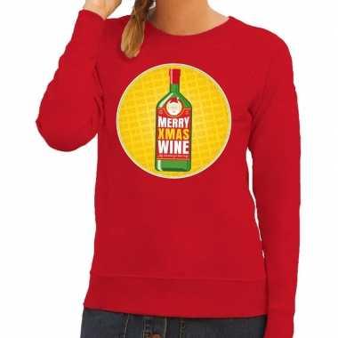Foute kersttrui merry x-mas wine rood voor dames