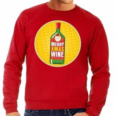 Foute kersttrui merry x-mas wine rood voor heren